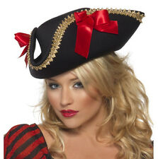 Womens Pirate Hat Black Gold Tricorn Tri-Corn Cap Fancy Dress Halloween Adult