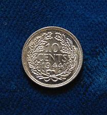1944 NETHERLANDS NEDERLANDEN ten 10 cents silver coin AU-UNC