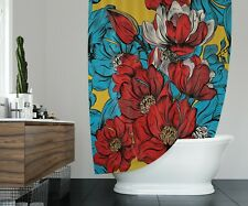Psychedelic Poppy Flower Shower Curtain | Bright Red, Blue and Gold
