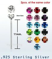 2pcs. 22g 2mm Round CZ Prong Set .925 Sterling Silver Straight Nose Ring Stud