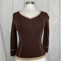 Finity Women's Small Knit Top Brown Beige Tan Trim 3/4 Sleeve #K