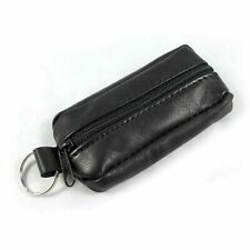 UNISEX LEATHER ZIPPER SOFT WALLET COIN POUCH PURSE KEY RING BLACK