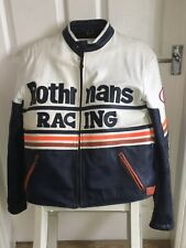 VINTAGE ROTHMANS RACING REAL LEATHER MOTORCYCLE MOTORBIKE JACKET (LARGE)