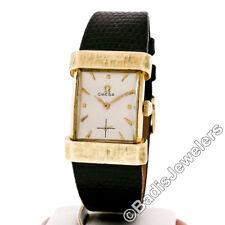 Vintage 14k Gold Omega 301 Rectangular Florentine Lug Manual Wrist Watch 3913