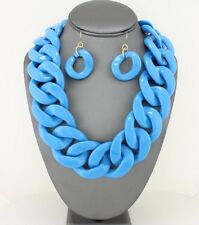 Blue turquoise Connected Lucite Acrylic Wide link Chunky Necklace earring set