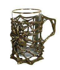 Brass Casting Glass Holder Podstakannik w/glass GIFT Set SPIDER #50