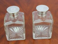More details for a pair victorian sterling silver lid glass perfume bottles - william neale 1860