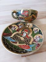 Asian Tea Cup Signed Meiji Period Men Dragon Handle Raised Hand Painted Moriage