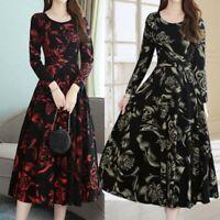 Womens Fashion Elegant Knee Length O-Neck Long Sleeve Printing Dress