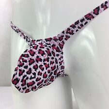 K4034 Mens Thong Contoured Bulge Pouch Leopard Swimsuit fabric S/M
