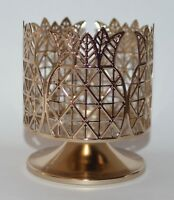 BATH BODY WORKS GOLD PINEAPPLE PEDESTAL LARGE 3 WICK CANDLE HOLDER SLEEVE 14.5OZ