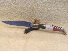 Couteau de poche Laguiole manche bois au couleur de L'Italie avec tir bouchon.