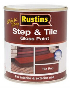Rustins Quick Dry Step and Tile Gloss Paint Red All Sizes For Steps and Floors