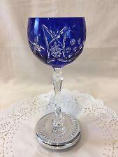 1 Cobalt Blue Crystal Handcut Ajka Hungarian/Bohemian Wine/Water