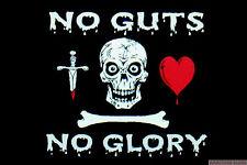 NO GUTS NO GLORY PIRATE FLAG 5X3 feet Caribbean pirates SKULL & BONES