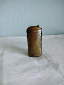 Antique Brass Vesta Case Match Safe Holder Container Box w striker