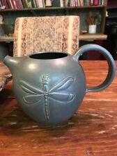 """Handmade Ceramic Pottery Jug Pitcher Grey Green With Dragonfly 6.5"""" Tall Signed"""