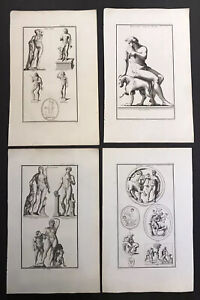 Lot Of 4 Male Nudes antique engravings 18th Century Neoclassical Bacchus