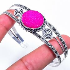 Pink Titanium Druzy Gemstone Silver Fashion Jewelry Cuff Bracelet Adst. SC-293