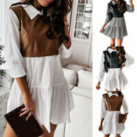 PU Leather Patchwork Mini Dress Long Sleeve A-Line Office Casual Swing Dress