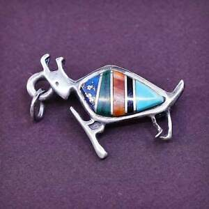 vtg Native American sterling silver zuni brooch w/ turquoise coral N lapis