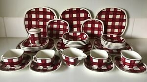 Vintage TG Green Patio Gingham Eng 32 Pc Dinner Set Art Deco 1930s PUONLY 3054