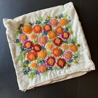 Vintage Crewel Pillow Cover Fuzzy Flowers Finished 12 X 12