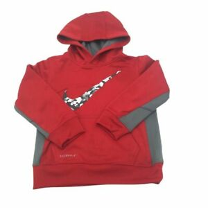 Nike Little Boys Therma Pullover Hoodie Sweat Shirt Red Size 4