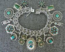 Vintage Sterling Charm Bracelet Turquoise Zuni Navajo Mexico Southwest Charms