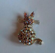 Warner Cat Pin Brooch Signed Gorgeous Gold Aurora & Crystal Rhinestones
