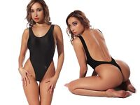 Exotic Black One Piece Swimsuit Thong High Cut Leg Open Back  Monokini Body Suit