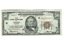 1929 SERIES $50.00BROWN SEAL NATIONAL CURRENCY-CHICAGO