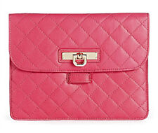 DKNY Quilted Nappa Magenta Leather Mini iPad Tablet Kindle Sleeve Clutch NWT