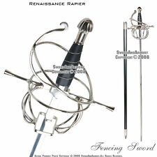 Medieval Renaissance Rapier Fencing Sword with Swept Hilt Guard LARP Costume