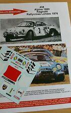 DÉCALS 1/43 réf 438  Renault Alpine 1800 Ragnotti Rallycross Loheac 1976