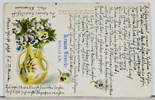 Germany 1901 Glitter Decorated Vase Hermann Wienecke Berlin S.W. Postcard K18