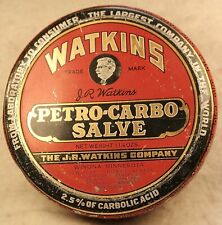 VINTAGE WATKINS PETRO-CARBO SALVE TIN EXTRA NICE LITHOGRAPH Great Condition