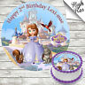SOFIA THE FIRST EDIBLE ROUND BIRTHDAY CAKE TOPPER DECORATION PERSONALISED