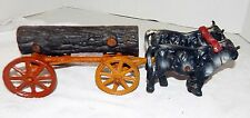 Vintage Cast Iron Log Wagon With Ox Team And Rider
