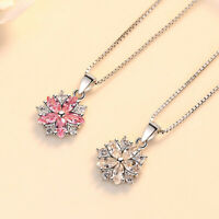 925 Sterling Silver White Pink Crystal Flower Pendant Necklace Women Jewelry