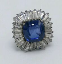 Sterling Silver Sapphire Blue & White Swarovski Crystal Ring Size 6.5