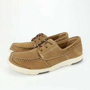 Abeo Lite Clayton Lightweight Boat Casual Shoes Dark Tan Leather Men's Size 8 M
