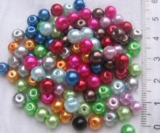 mix 100 perles rondes 6mm en verre nacré bohème renaissance rouge bleu gris *RU2