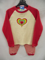 BNWT Girls Sz 5 to 6 Years Red Long Style Heart Logo Comfy Pyjama Set