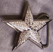 Pewter Belt Buckle Rhinestone Star clear NEW