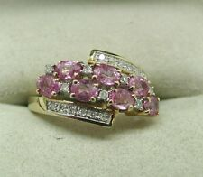 Beautiful 9ct Gold Ruby And Diamond Double Row Fancy Ladies Dress Ring