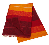 Moroccan Throw Bedspread Sofa Cover Red Handwoven Wool Sabra Silk 280cm x 180cm