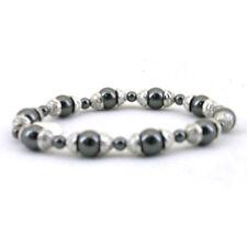 Power Health Jet Bead Effect & Silver Tone Metalwork Hematite Bracelet