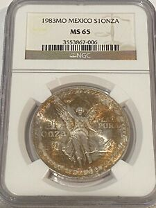 1983 MO MEXICO SILVER 1 ONZA LIBERTAD NGC MS 65 GREAT LUSTER BEAUTIFUL GEM COIN