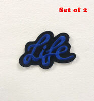 Life Art Blue Badge Clothes Iron on Sew on Embroidered Patch Set of 2